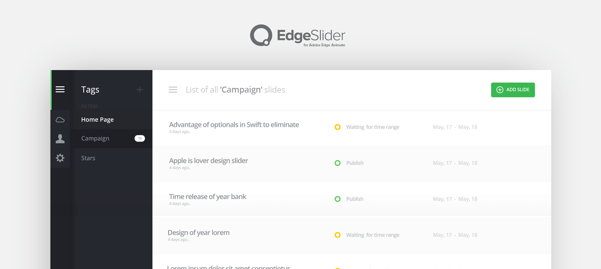 Edgel Slider Plugin Powered by HTML5 and CSS3 for Adobe Edge Animate